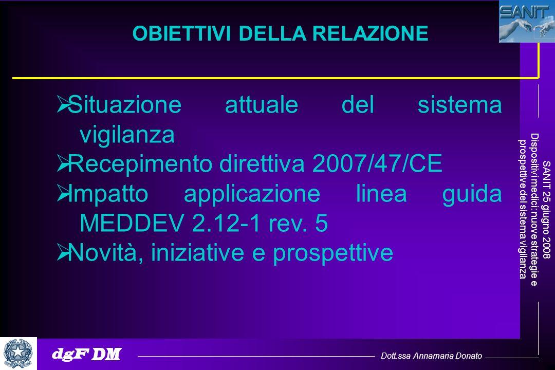Dott.ssa Annamaria Donato SANIT 25 giugno 2008 Dispositivi medici: nuove strategie e prospettive del sistema vigilanza OBIETTIVI DELLA RELAZIONE Situa