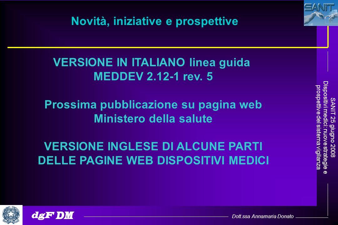 Dott.ssa Annamaria Donato SANIT 25 giugno 2008 Dispositivi medici: nuove strategie e prospettive del sistema vigilanza Novità, iniziative e prospettiv