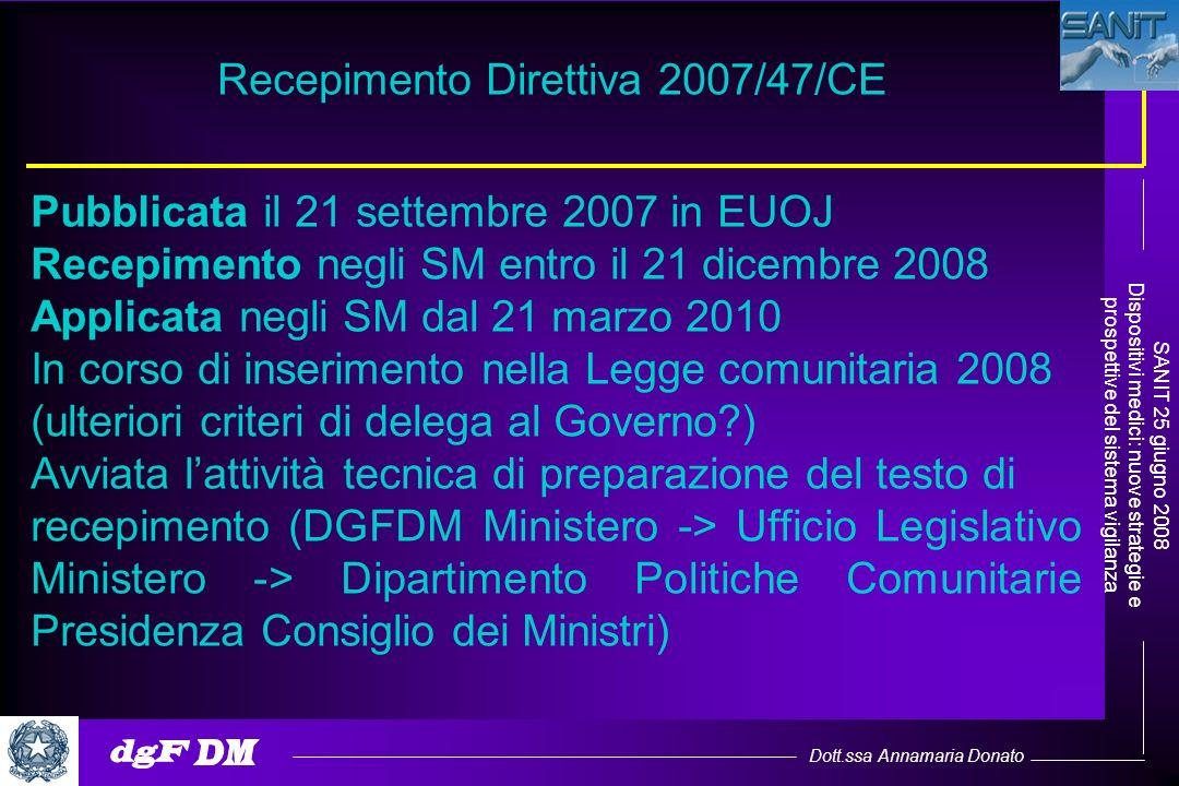Dott.ssa Annamaria Donato SANIT 25 giugno 2008 Dispositivi medici: nuove strategie e prospettive del sistema vigilanza Pubblicata il 21 settembre 2007