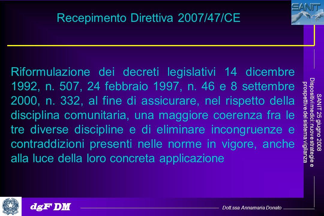 Dott.ssa Annamaria Donato SANIT 25 giugno 2008 Dispositivi medici: nuove strategie e prospettive del sistema vigilanza Recepimento Direttiva 2007/47/C