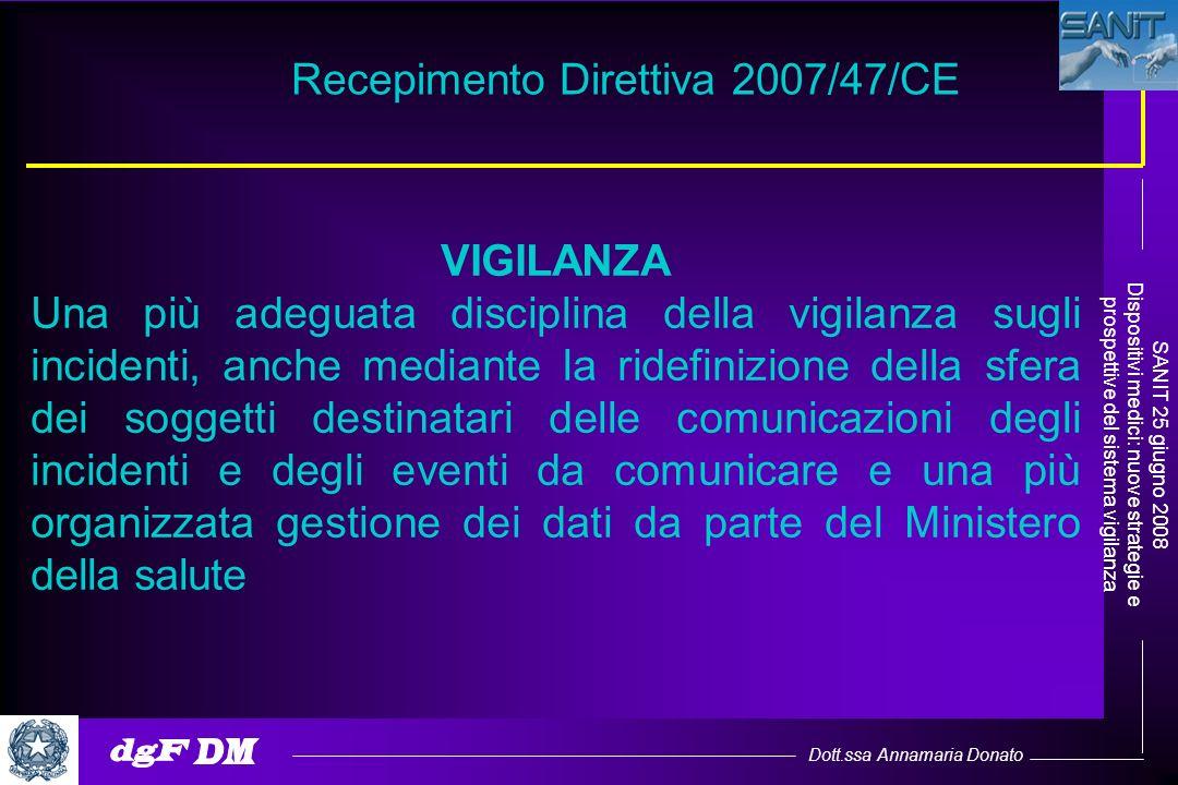 Dott.ssa Annamaria Donato SANIT 25 giugno 2008 Dispositivi medici: nuove strategie e prospettive del sistema vigilanza VIGILANZA Una più adeguata disc