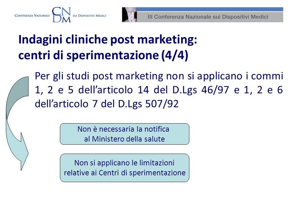 Indagini cliniche post marketing: centri di sperimentazione (4/4) Per gli studi post marketing non si applicano i commi 1, 2 e 5 dellarticolo 14 del D