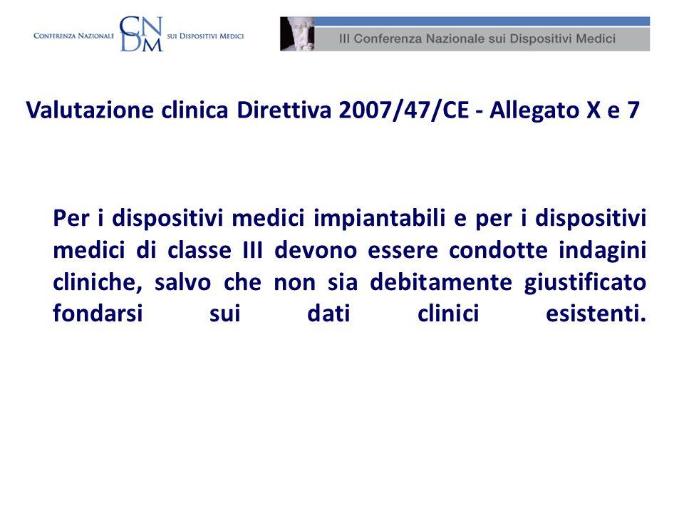 Per i dispositivi medici impiantabili e per i dispositivi medici di classe III devono essere condotte indagini cliniche, salvo che non sia debitamente