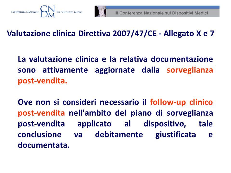 La valutazione clinica e la relativa documentazione sono attivamente aggiornate dalla sorveglianza post-vendita. Ove non si consideri necessario il fo