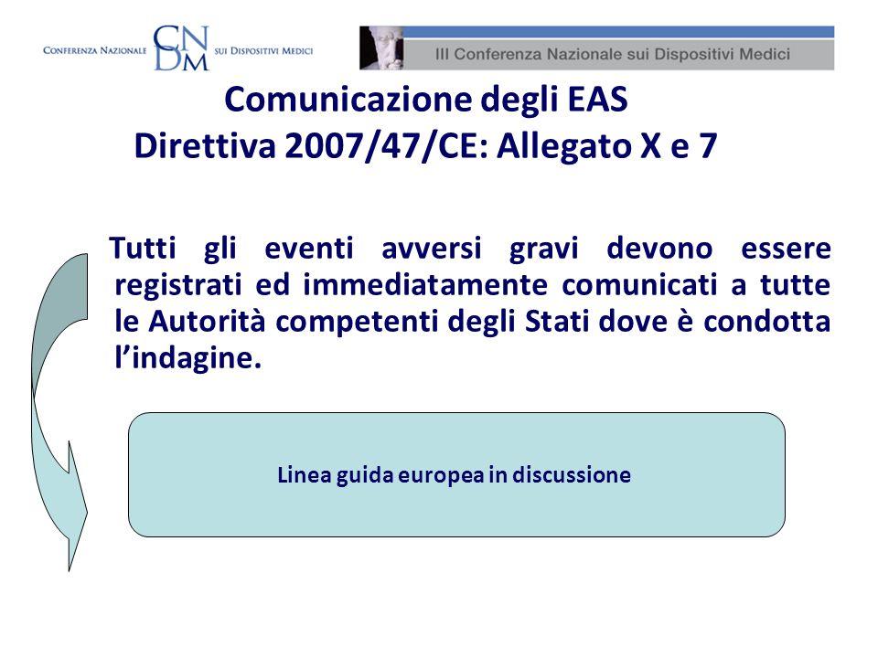 Comunicazione degli EAS Direttiva 2007/47/CE: Allegato X e 7 Tutti gli eventi avversi gravi devono essere registrati ed immediatamente comunicati a tu