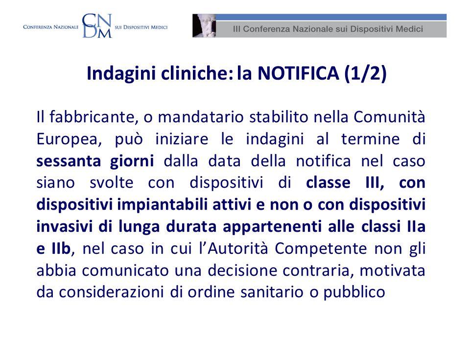 Notifiche di indagini cliniche Suddivisione in classi – DMIA dati cumulativi 2007 – 2009 %