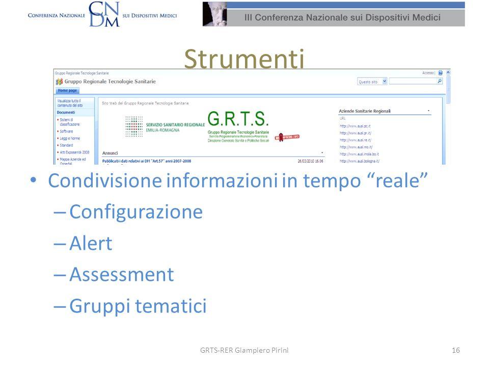 Strumenti 16GRTS-RER Giampiero Pirini Condivisione informazioni in tempo reale – Configurazione – Alert – Assessment – Gruppi tematici