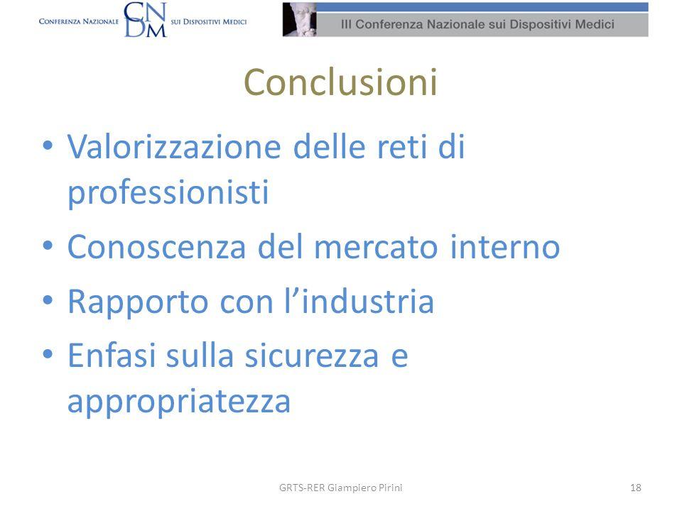 Conclusioni Valorizzazione delle reti di professionisti Conoscenza del mercato interno Rapporto con lindustria Enfasi sulla sicurezza e appropriatezza