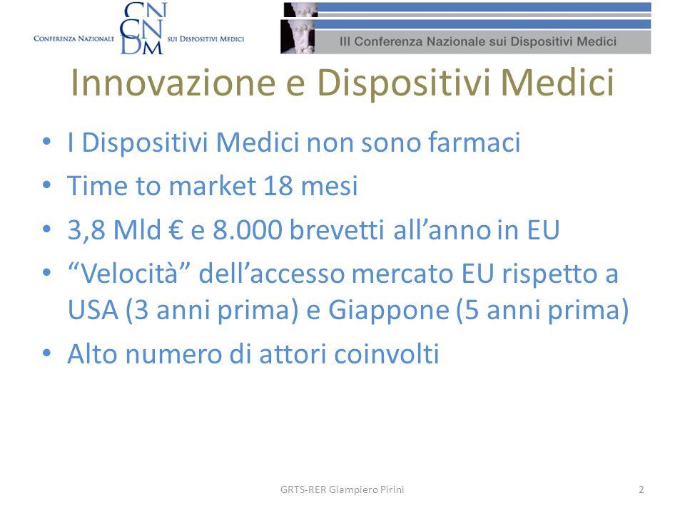 Innovazione e Dispositivi Medici I Dispositivi Medici non sono farmaci Time to market 18 mesi 3,8 Mld e 8.000 brevetti allanno in EU Velocità dellacce