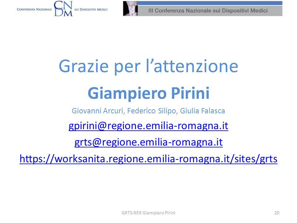 Grazie per lattenzione Giampiero Pirini Giovanni Arcuri, Federico Silipo, Giulia Falasca gpirini@regione.emilia-romagna.it grts@regione.emilia-romagna