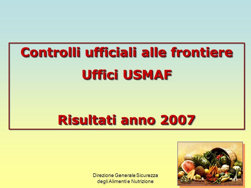 Direzione Generale Sicurezza degli Alimenti e Nutrizione Uffici di Sanità Marittima, Aerea e di Frontiera (USMAF) e relative Unità Territoriali 12 USMAF 35 Unità Territoriali 1 Ufficio centrale di coordinamento