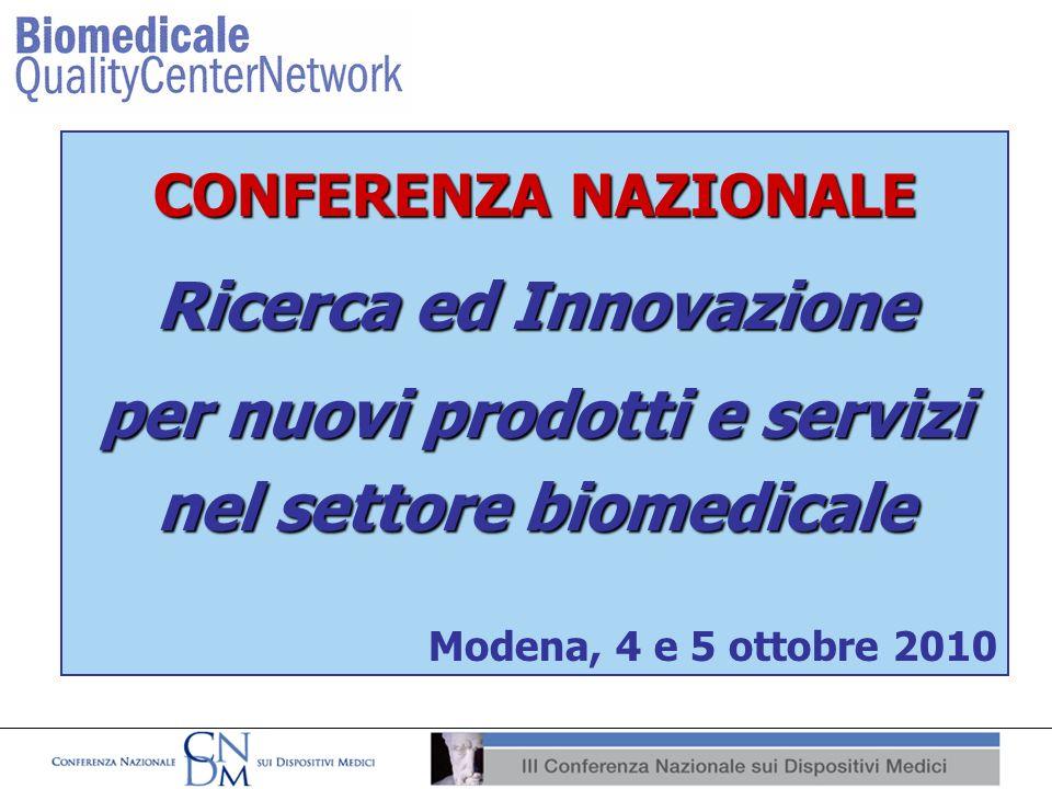 CONFERENZA NAZIONALE Ricerca ed Innovazione per nuovi prodotti e servizi nel settore biomedicale Modena, 4 e 5 ottobre 2010
