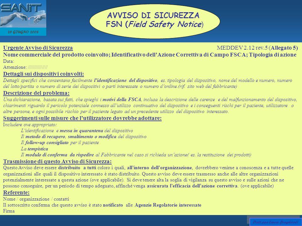 25 GIUGNO 2008 AVVISO DI SICUREZZA FSN (Field Safety Notice ) Urgente Avviso di Sicurezza MEDDEV 2.12 rev.5 (Allegato 5) Nome commerciale del prodotto