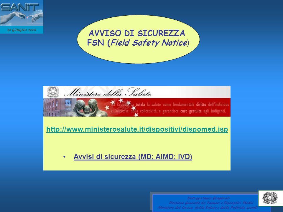 25 GIUGNO 2008 AVVISO DI SICUREZZA FSN (Field Safety Notice ) http://www.ministerosalute.it/dispositivi/dispomed.jsp Avvisi di sicurezza (MD; AIMD; IV