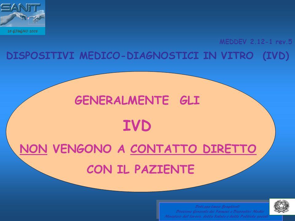 MEDDEV 2.12-1 rev.5 DISPOSITIVI MEDICO-DIAGNOSTICI IN VITRO (IVD) GENERALMENTE GLI IVD NON VENGONO A CONTATTO DIRETTO CON IL PAZIENTE 25 GIUGNO 2008 D