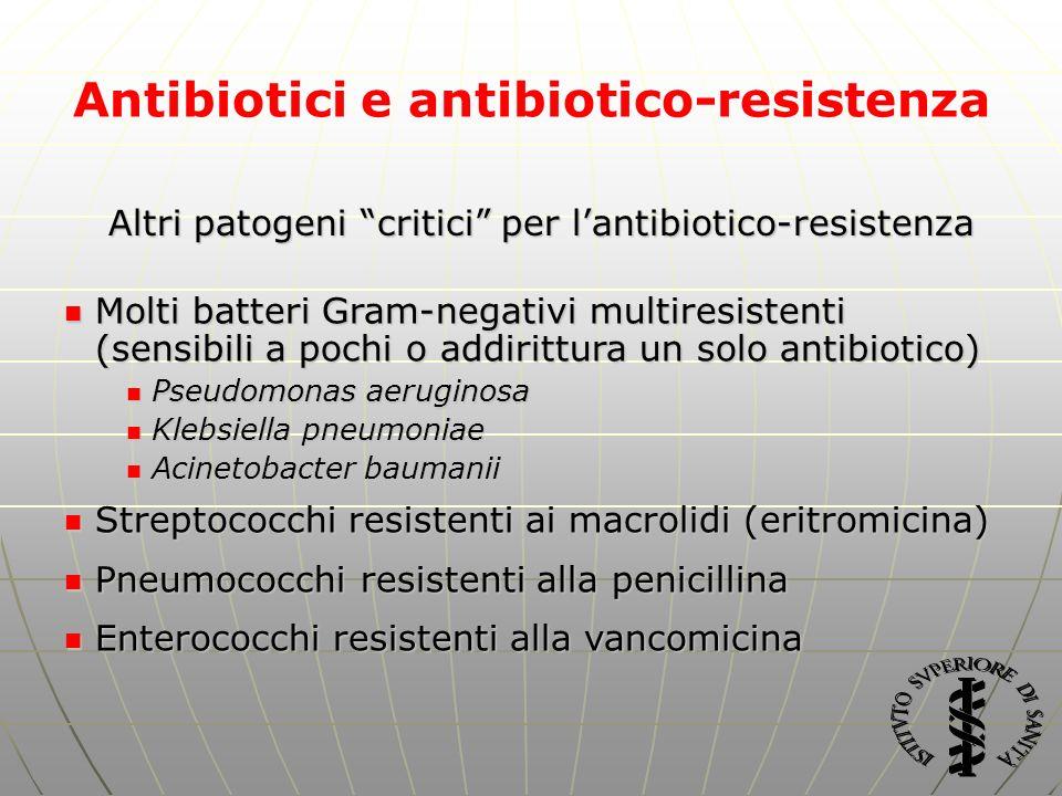 Antibiotici e antibiotico-resistenza Molti batteri Gram-negativi multiresistenti (sensibili a pochi o addirittura un solo antibiotico) Molti batteri G