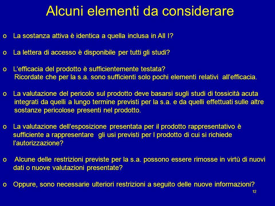 Alcuni elementi da considerare oLa sostanza attiva è identica a quella inclusa in All I.