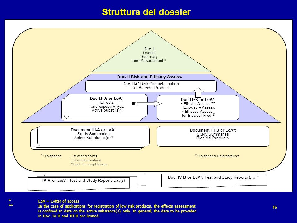 Struttura del dossier Doc. IV-A or LoA*: Test and Study Reports a.s.(s) Doc. IV-B or LoA*: Test and Study Reports b.p.** Doc II-B or LoA* - Effects As