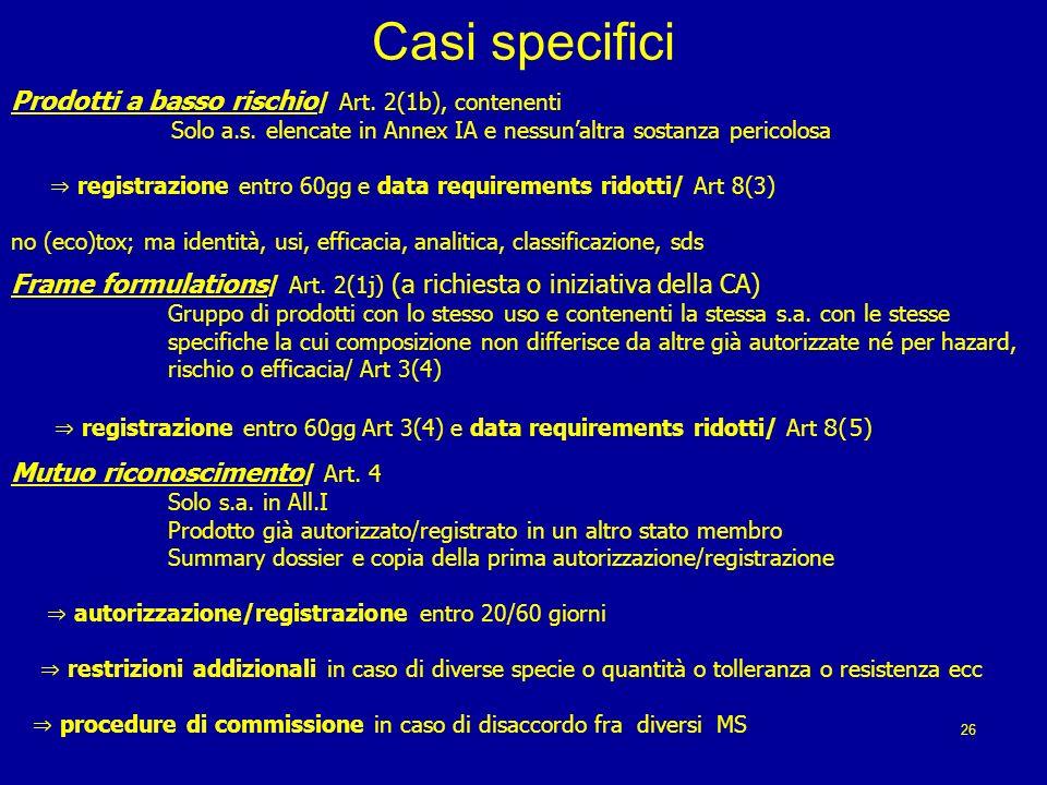 Casi specifici Prodotti a basso rischio / Art.2(1b), contenenti Solo a.s.