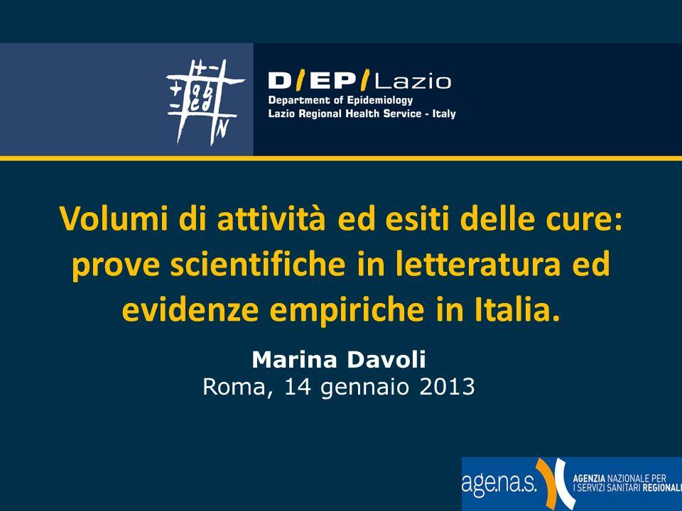 Volumi di attività ed esiti delle cure: prove scientifiche in letteratura ed evidenze empiriche in Italia. Marina Davoli Roma, 14 gennaio 2013
