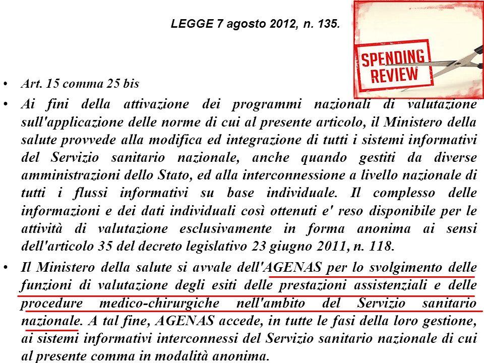 Art. 15 comma 25 bis Ai fini della attivazione dei programmi nazionali di valutazione sull'applicazione delle norme di cui al presente articolo, il Mi