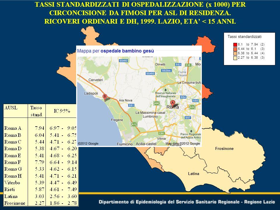 Tassi standardizzati 6.1 to7.94 (2) 5.44 to6.1 (3) 5.38 to5.44 (4) 2.27 to5.38 (3) Roma A Roma B Roma C Roma D Roma E Roma F Roma G Roma H Rieti Latina Frosinone Viterbo TASSI STANDARDIZZATI DI OSPEDALIZZAZIONE (x 1000) PER CIRCONCISIONE DA FIMOSI PER ASL DI RESIDENZA.