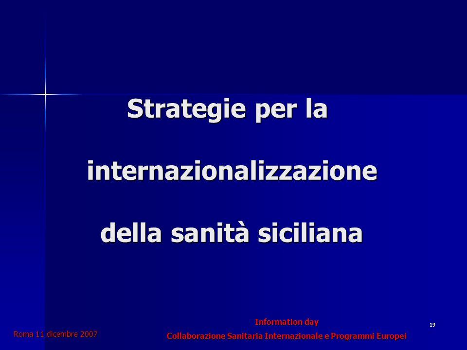 Information day Collaborazione Sanitaria Internazionale e Programmi Europei Roma 11 dicembre 2007 19 Strategie per la internazionalizzazione della sanità siciliana