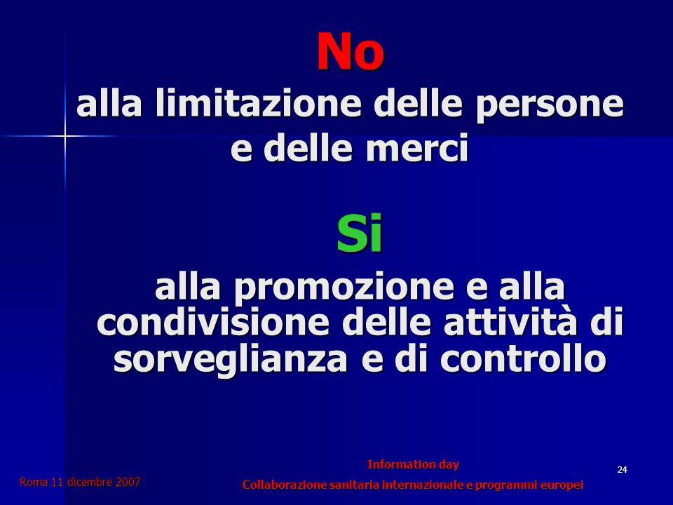 Roma 11 dicembre 2007 Information day Collaborazione sanitaria internazionale e programmi europei 24 No alla limitazione delle persone e delle merci Si alla promozione e alla condivisione delle attività di sorveglianza e di controllo