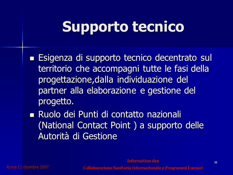 Information day Collaborazione Sanitaria Internazionale e Programmi Europei Roma 11 dicembre 2007 30 Supporto tecnico Esigenza di supporto tecnico decentrato sul territorio che accompagni tutte le fasi della progettazione,dalla individuazione del partner alla elaborazione e gestione del progetto.