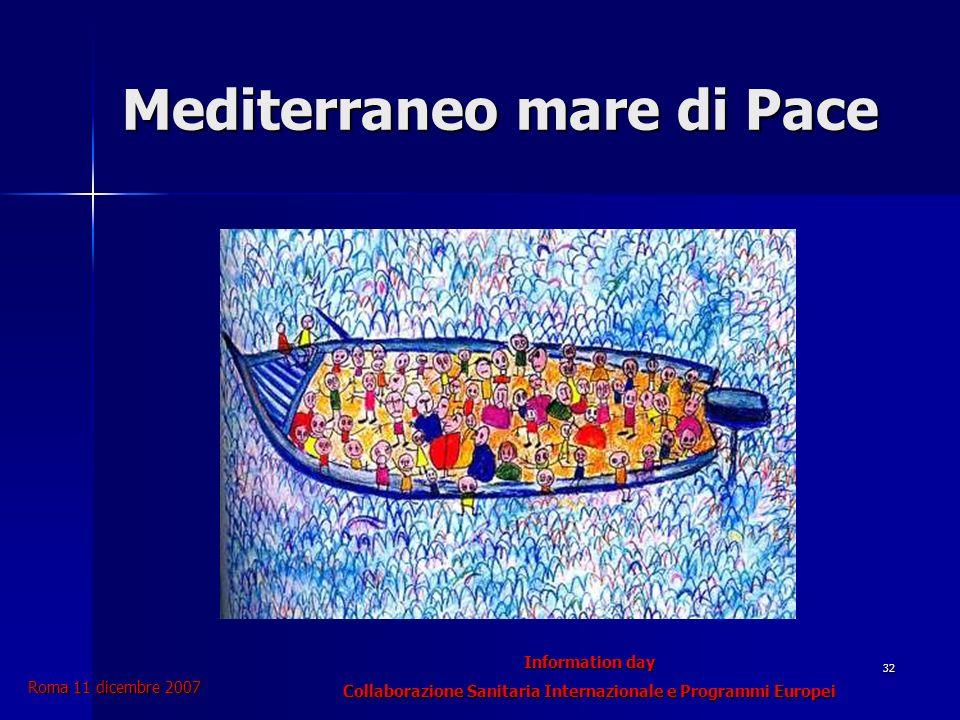 Information day Collaborazione Sanitaria Internazionale e Programmi Europei Roma 11 dicembre 2007 32 Mediterraneo mare di Pace