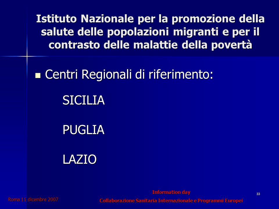 Information day Collaborazione Sanitaria Internazionale e Programmi Europei Roma 11 dicembre 2007 33 Istituto Nazionale per la promozione della salute delle popolazioni migranti e per il contrasto delle malattie della povertà Centri Regionali di riferimento: Centri Regionali di riferimento:SICILIAPUGLIALAZIO