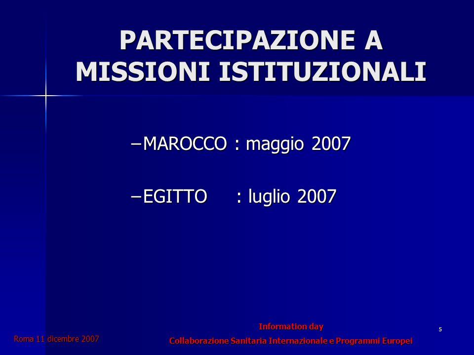 Information day Collaborazione Sanitaria Internazionale e Programmi Europei Roma 11 dicembre 2007 5 PARTECIPAZIONE A MISSIONI ISTITUZIONALI –MAROCCO : maggio 2007 –EGITTO : luglio 2007
