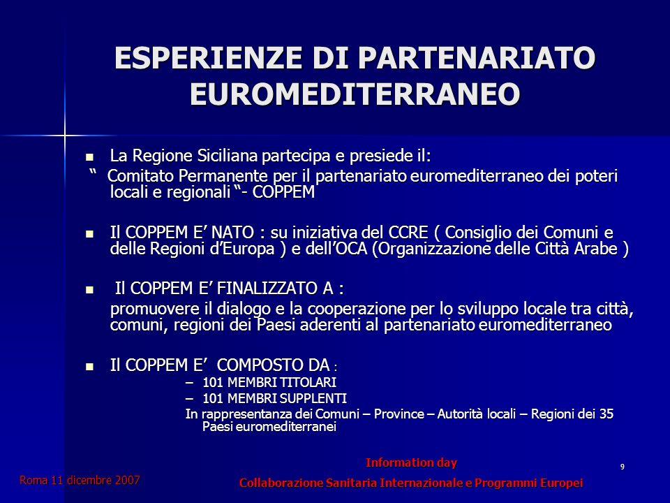 Information day Collaborazione Sanitaria Internazionale e Programmi Europei Roma 11 dicembre 2007 20 Bisogno = Diritto