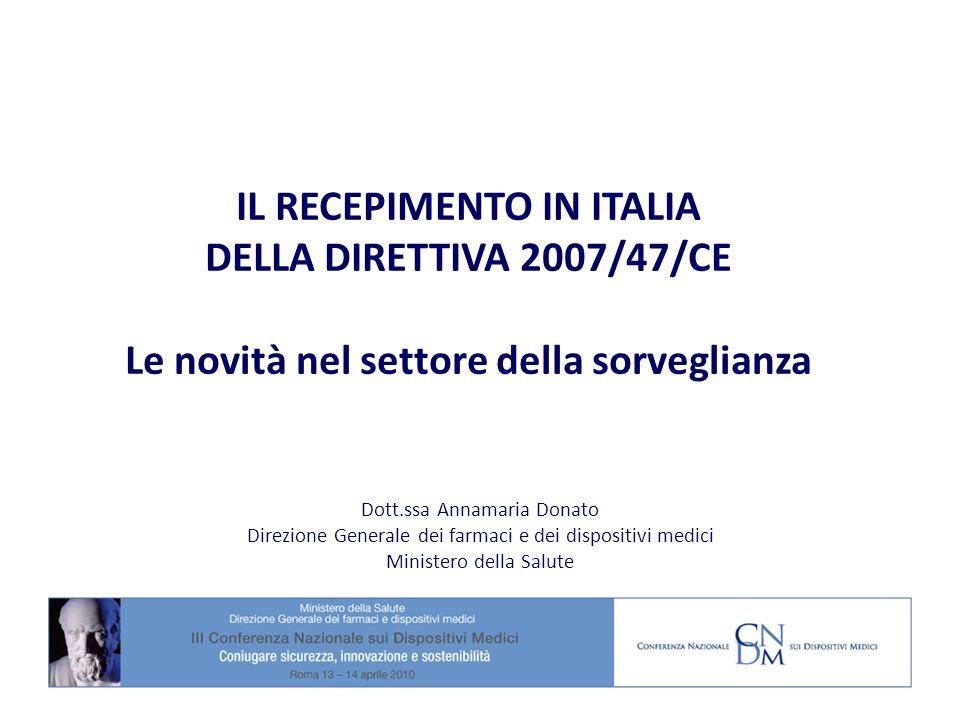 IL RECEPIMENTO IN ITALIA DELLA DIRETTIVA 2007/47/CE Le novità nel settore della sorveglianza Dott.ssa Annamaria Donato Direzione Generale dei farmaci