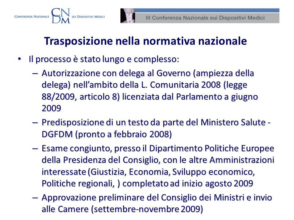 Trasposizione nella normativa nazionale Il processo è stato lungo e complesso: Il processo è stato lungo e complesso: – Autorizzazione con delega al G