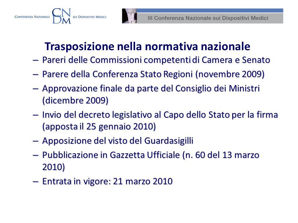 Trasposizione nella normativa nazionale – Pareri delle Commissioni competenti di Camera e Senato – Parere della Conferenza Stato Regioni (novembre 200
