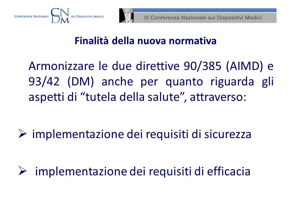 Finalità della nuova normativa Armonizzare le due direttive 90/385 (AIMD) e 93/42 (DM) anche per quanto riguarda gli aspetti di tutela della salute, a
