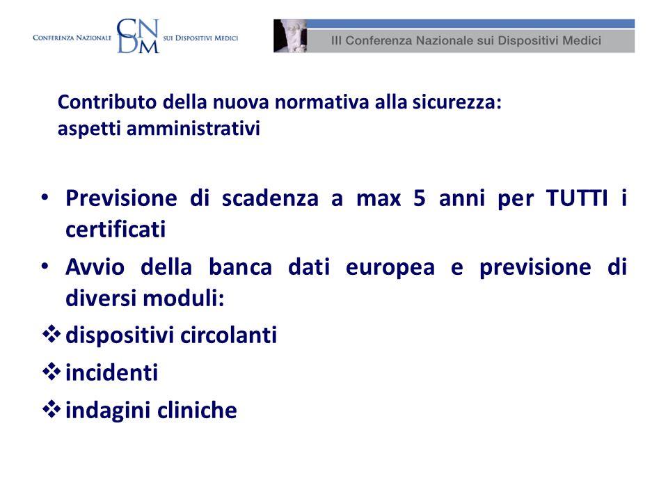 Contributo della nuova normativa alla sicurezza: aspetti amministrativi Previsione di scadenza a max 5 anni per TUTTI i certificati Avvio della banca
