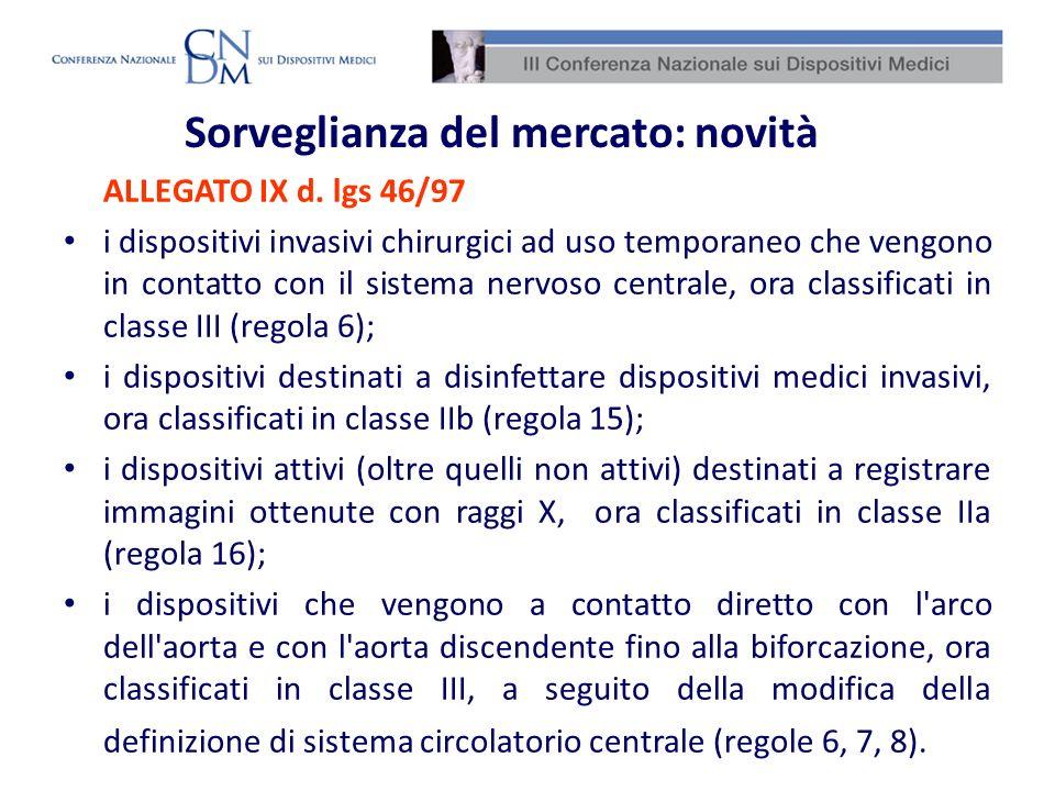 Sorveglianza del mercato: novità ALLEGATO IX d. lgs 46/97 i dispositivi invasivi chirurgici ad uso temporaneo che vengono in contatto con il sistema n