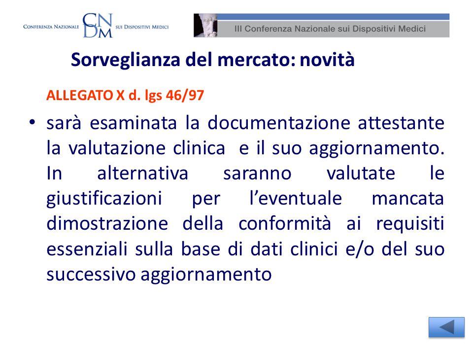 Sorveglianza del mercato: novità ALLEGATO X d. lgs 46/97 sarà esaminata la documentazione attestante la valutazione clinica e il suo aggiornamento. In
