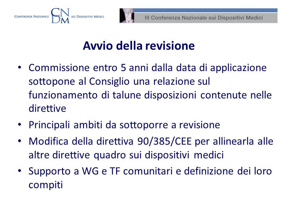 Avvio della revisione Alla luce delle conclusioni è risultato necessario e opportuno modificare la direttiva 90/385/CEE, la direttiva 93/42/CEE e la direttiva 98/8/CE anche al fine di garantire coerenza sotto il profilo interpretativo e attuativo