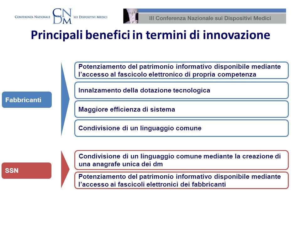 Principali benefici in termini di innovazione Innalzamento della dotazione tecnologica Potenziamento del patrimonio informativo disponibile mediante l