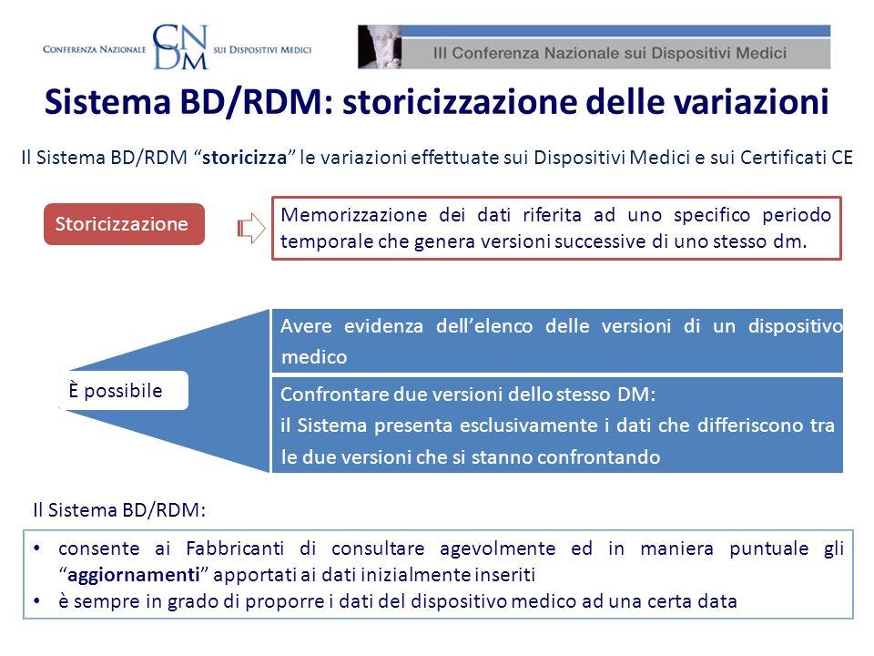 Sistema BD/RDM: storicizzazione delle variazioni Il Sistema BD/RDM storicizza le variazioni effettuate sui Dispositivi Medici e sui Certificati CE Il