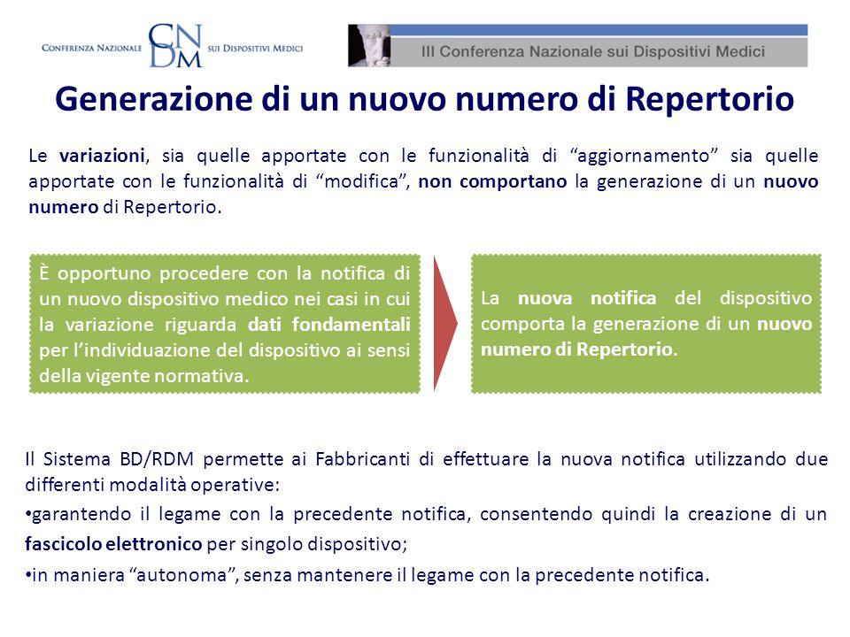 Generazione di un nuovo numero di Repertorio Le variazioni, sia quelle apportate con le funzionalità di aggiornamento sia quelle apportate con le funz