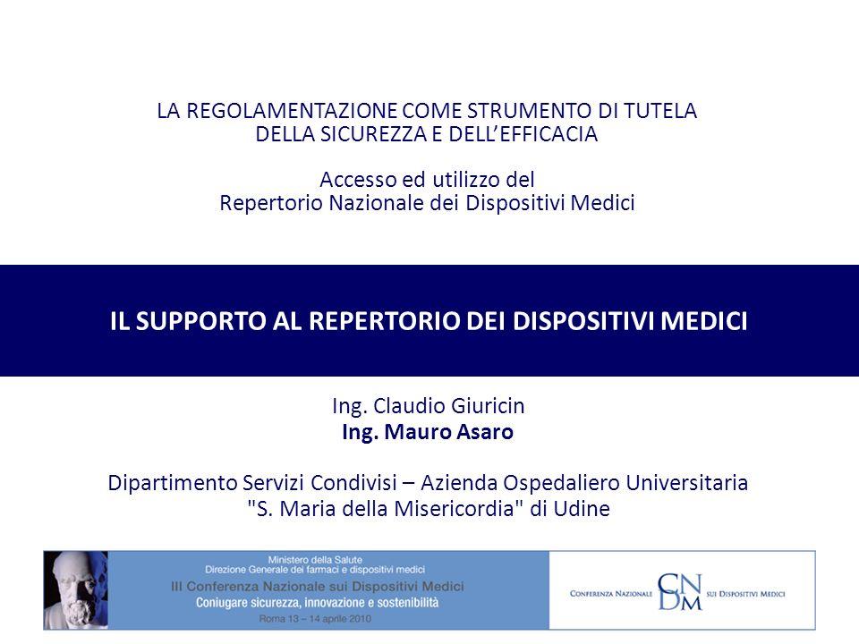 LA REGOLAMENTAZIONE COME STRUMENTO DI TUTELA DELLA SICUREZZA E DELLEFFICACIA Accesso ed utilizzo del Repertorio Nazionale dei Dispositivi Medici Ing.