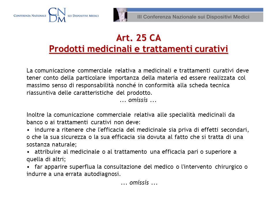 Art. 25 CA Prodotti medicinali e trattamenti curativi La comunicazione commerciale relativa a medicinali e trattamenti curativi deve tener conto della