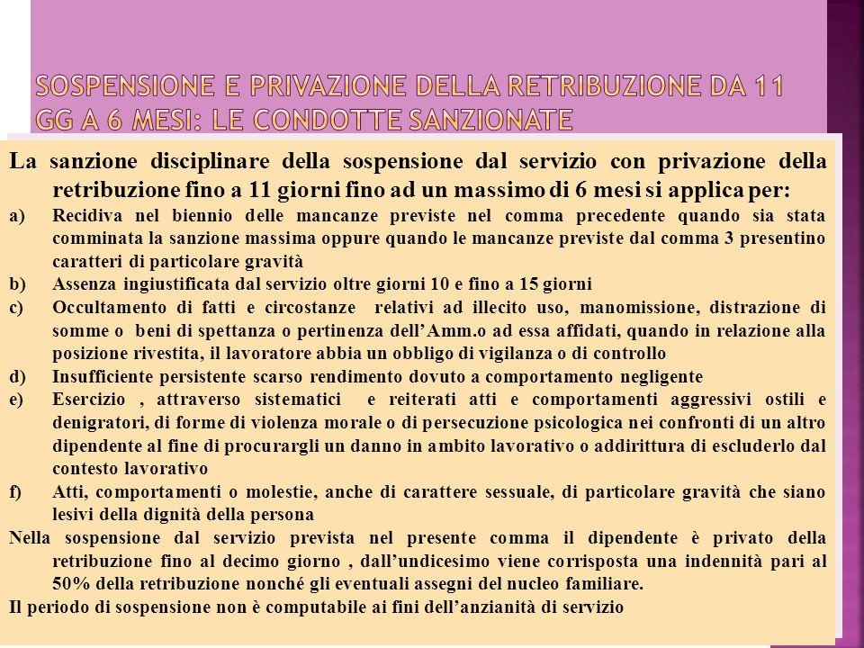 La sanzione disciplinare della sospensione dal servizio con privazione della retribuzione fino a 11 giorni fino ad un massimo di 6 mesi si applica per