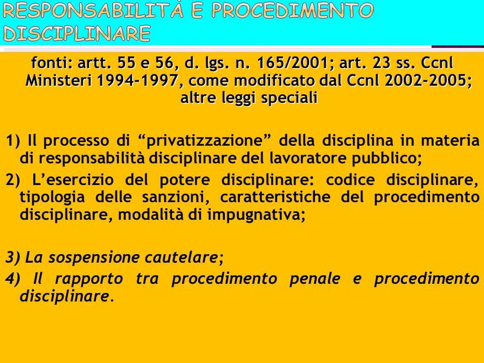 fonti: artt. 55 e 56, d. lgs. n. 165/2001; art. 23 ss. Ccnl Ministeri 1994-1997, come modificato dal Ccnl 2002-2005; altre leggi speciali 1) Il proces