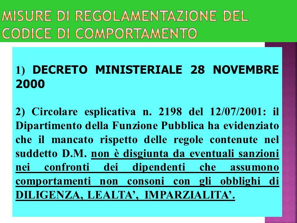 1) DECRETO MINISTERIALE 28 NOVEMBRE 2000 2) Circolare esplicativa n. 2198 del 12/07/2001: il Dipartimento della Funzione Pubblica ha evidenziato che i