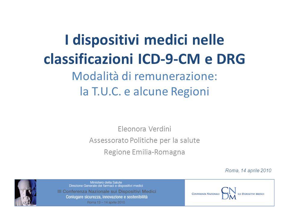 I dispositivi medici nelle classificazioni ICD-9-CM e DRG Modalità di remunerazione: la T.U.C.